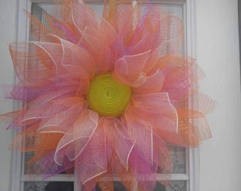 Deco mesh flower wreaths