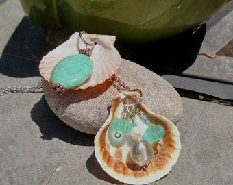 seashell pendant with glass beads