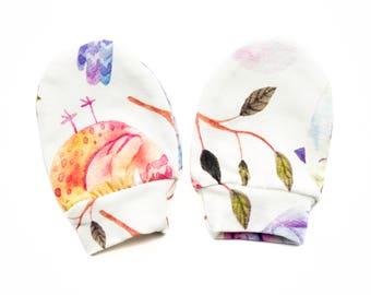 Watercolour Birds ORGANIC Baby Mittens