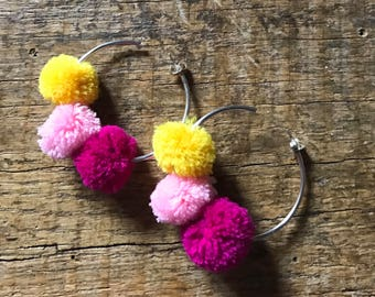 Pink Yellow Pom Pom Hoop Earrings - Statement Earrings