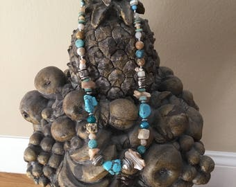 Aqua and sand colored beaded necklace