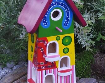 "Bird feeding station - ""Rainbow variety"" decorative wood"