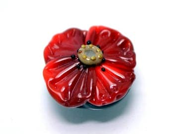 lampwork bead flower Red flower glass bead  Floral Lampwork red poppy glass bead artisan lampwork art glass handmade red jewelry making
