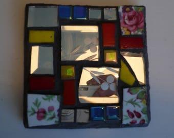 Mosaic slate square coaster