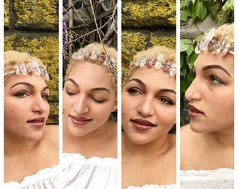 Premium Alternating Clear/Rose Quartz Crystal Crown