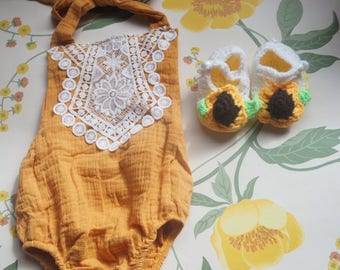 Baby girl coming home romper boho outfit,baby shower gift,newborn outfit, baby photoshoot outfit, baby girl cakesmash outfit, hand crocheted