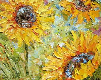 "Painting Sunflowers Wall Art Wall Decor Oil Painting Original Art Modern Impressionism 6""x6"" canvas palette knife textured abstract"