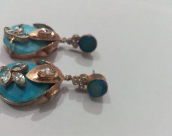 Rose earring tourquise drusy zircon color blue stone