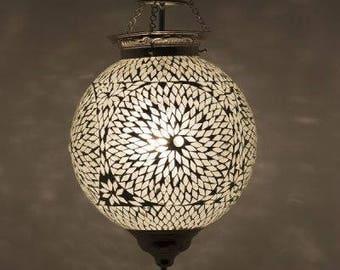 Oriental lamp Mumbai mosaic transparent & white
