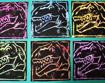 T-Rex Linocut Prints