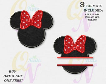 BOGO FREE! SET, Head of Minnie Mouse Applique Embroidery Designs, Minnie Split Machine Embroidery Designs, embroidery designs baby, #025