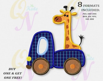 BOGO FREE! Truck with giraffe applique embroidery design, Giraffe Machine Embroidery Designs, Embroidery designs baby, Instant Download,#027