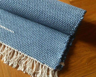 Rag Rug, Handmade Blue Rug with White Stripes, Handwoven