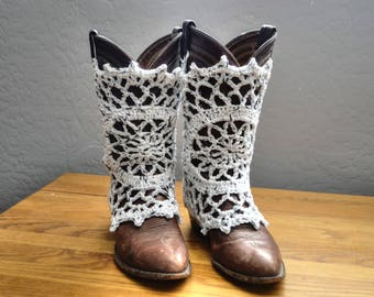 Boot Covers Done in White and Black Cotton