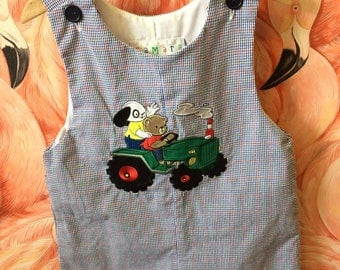 Vintage Samara checkered child's onesie with tractor and dogs