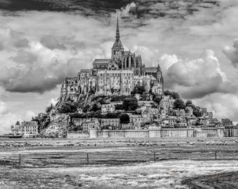 Mont Saint-Michel, Mont Saint-Michel Print, Mont Saint-Michel Wall Art,  Travel Photography, Architecture