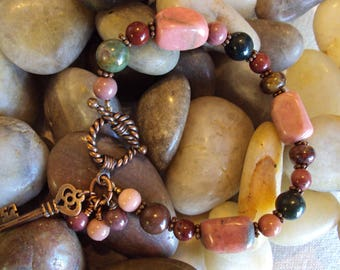 Chunky Pink and Multi colored Stone Bracelet