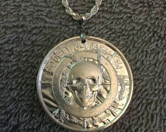 Silver pirate medallion necklace