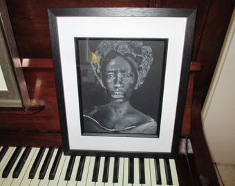 The Expression, Framed original art portrait of a Nineteenth Century Brazilian African woman