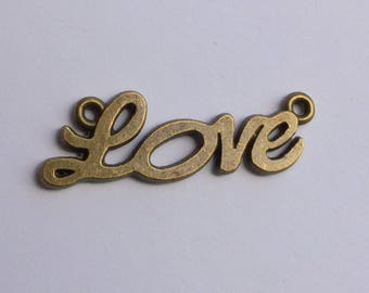 Antiqued Bronze  Love Connector Charms 33 x 10mm
