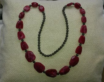 Vintage, red beaded statement necklace.