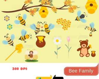 80% off Promo sale,Bee Family illustration digital clipart set,clipart commercial use, vector graphics, digital clip art,clipart