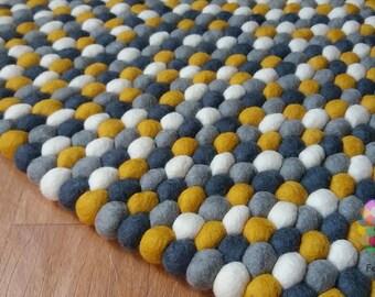 Round Felt Ball Rug. Nursery pom pom . Pebble wool Rug . 100 % wool Handmade Nepal Rug (Free Shipping)
