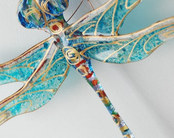 Dragonfly Fusing Glass Art Unique Birthday Gift Gift for Dad