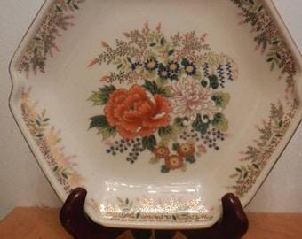 Vintage Japanese Porcelain 7 1/2 inch Hexagon Porcelain Plate with Gold Trim.