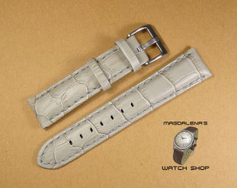 White 20 mm Leather Watch Band, 20 mm Genuine Leather Wrist Watch Band Leather Watch Bands Watchband Reptile Texture White 20mm Watch Straps