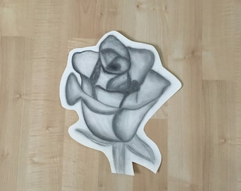 Rose Drawing - Charcoal