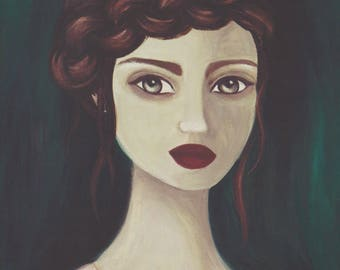 Gothic Art, The Lady Is A Vamp, Portrait Painting, Vampire Print, Dramatic Wall Decor