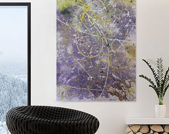 Large Drip/Splatter Jackson Pollock Inspired Abstract Painting, Abstract Painting, Modern Art on Canvas