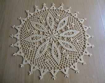 """""""Alabaster"""" round crochet doily"""