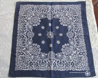 "Vintage Navy and White ""Trunks Up"" Elephant Bandana RN 15187, Made in USA"