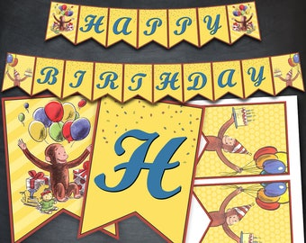 Curious George Banner, Curious George Birthday Banner, Curious George Party, Classic Curious George, Happy Birthday, Printable, Digital, DIY