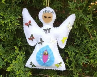 Angel Shaped hand made felt vagina ornament Christmas tree decor rearview mirror Yoni Gay Lesbian LGBT Party Feminism Feminist Craft Gift