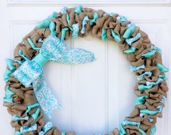 "Customizable Burlap Bubble Wreath/Ribbon/20"""