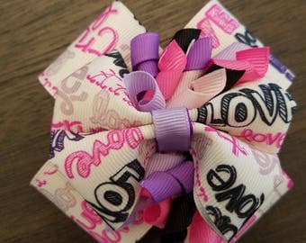 "Love themed stacked bow with 2"" French barrette."