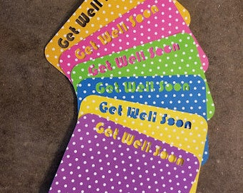 Get Well Soon Note Cards - Set of 6 - Get Well Soon...Fun Note Cards, Polka Dots, Cards
