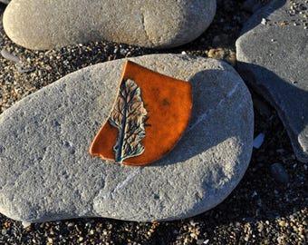 Ceramic brooch, hand made, gift, Clay, orange, leaf