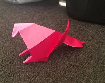 Birds in origami fushia and pink