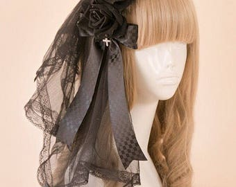 Black Rose Lolita Headband / Black Rose Gothic Headdress