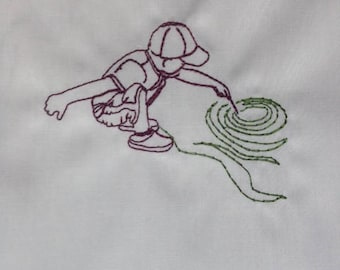 Boy Playing at the Creek Redwork Embroidery