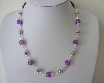 Necklace purple and silver beads