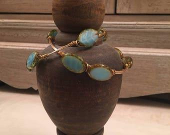 Turquoise and Gold Bangle Bracelets