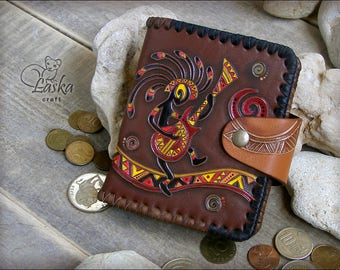 Leather purse indian style drawing