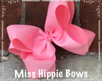 """Pink 4.5"""" or 6"""" Double Layered Boutique Hair bow extra large yards and yards of ribbon 46 color options"""