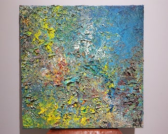 "Whipped. Original Oil Abstract Painting. One-of-a-Kind. Wall Art. Home Decor. Lots of Texture. 20""x20"". Unframed. Painted edges."