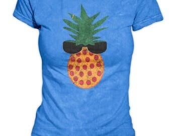 Ladies Crew Neck - Pineapple Pizza Dude with Sunglasses - Bella Crew Neck